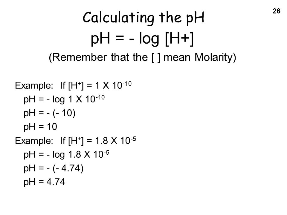 how to find the ph given the molarity
